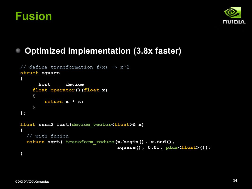 Fusion Optimized implementation (3.8x faster)