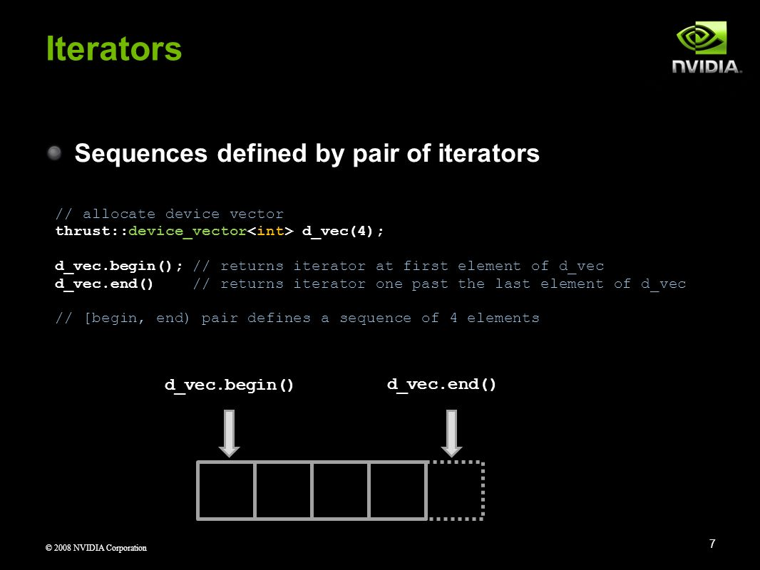 Iterators Sequences defined by pair of iterators d_vec.begin()