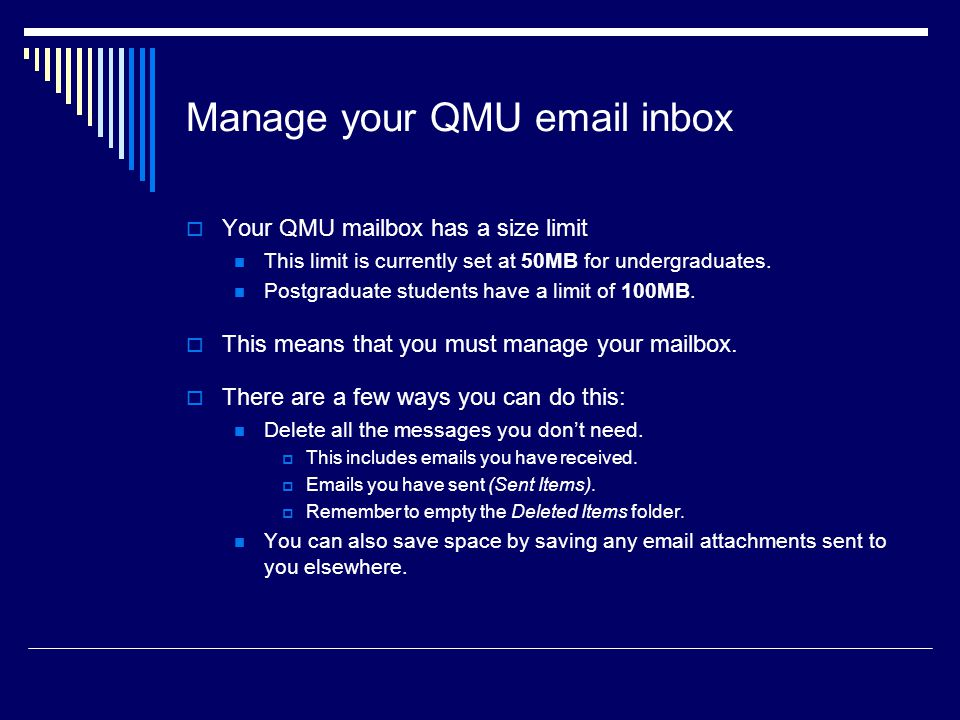 Manage your QMU  inbox