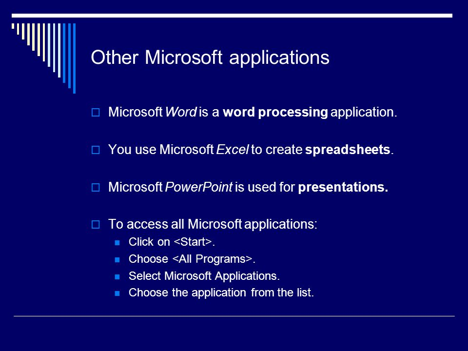 Other Microsoft applications