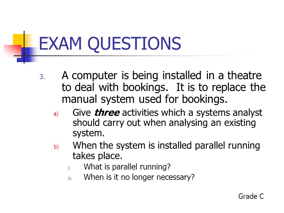 EXAM QUESTIONS A computer is being installed in a theatre to deal with bookings. It is to replace the manual system used for bookings.