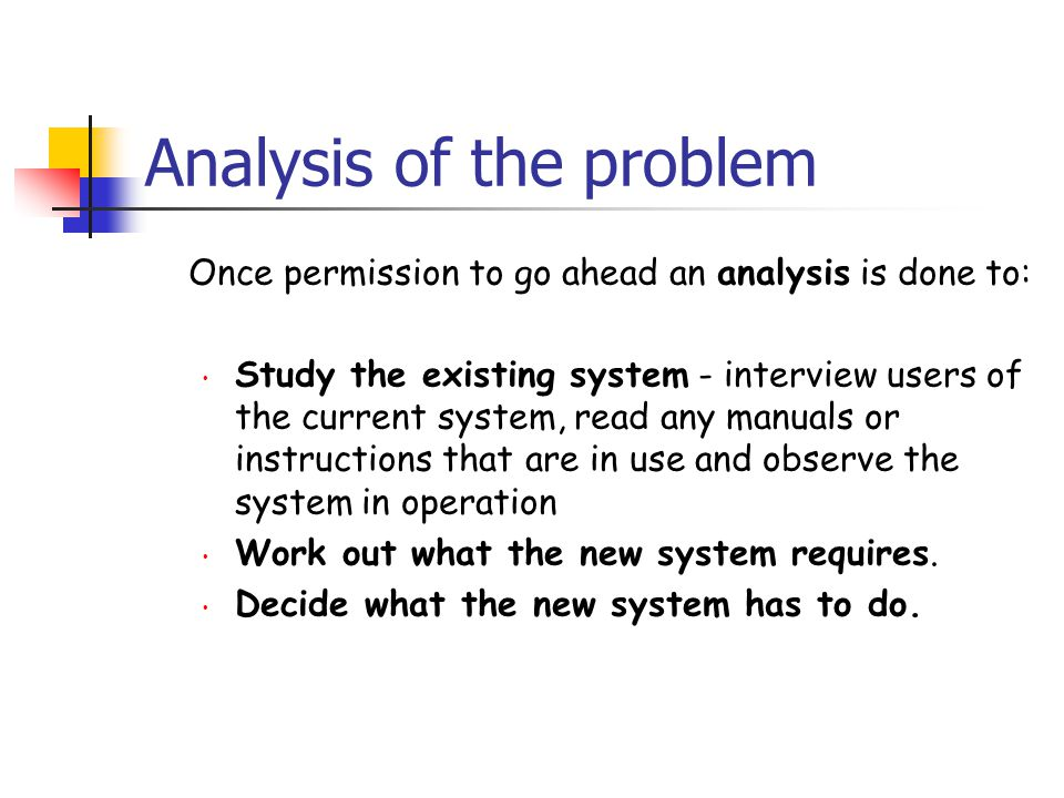 Analysis of the problem