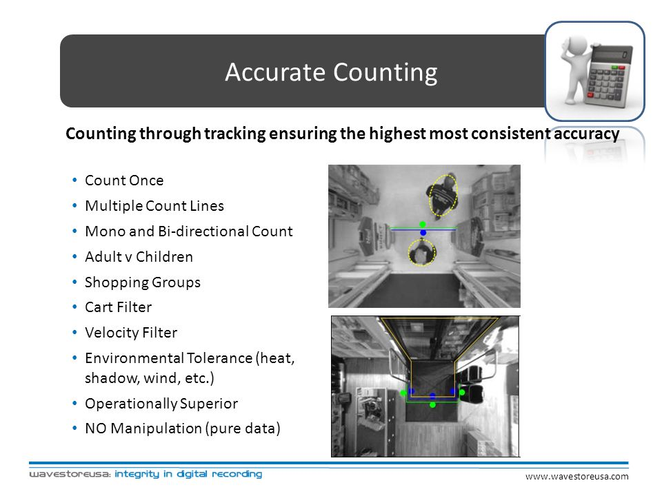 Accurate Counting Counting through tracking ensuring the highest most consistent accuracy. Count Once.