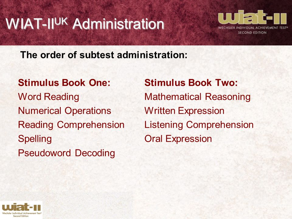 WIAT-IIUK Administration
