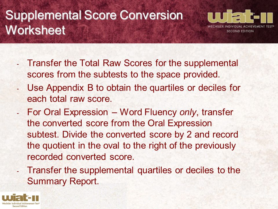 Supplemental Score Conversion Worksheet