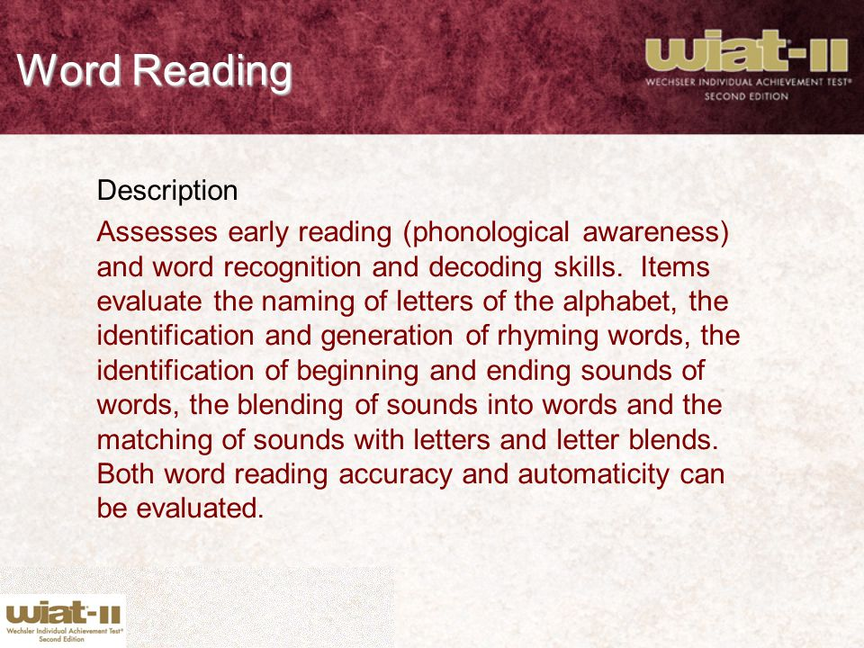 Word Reading Description
