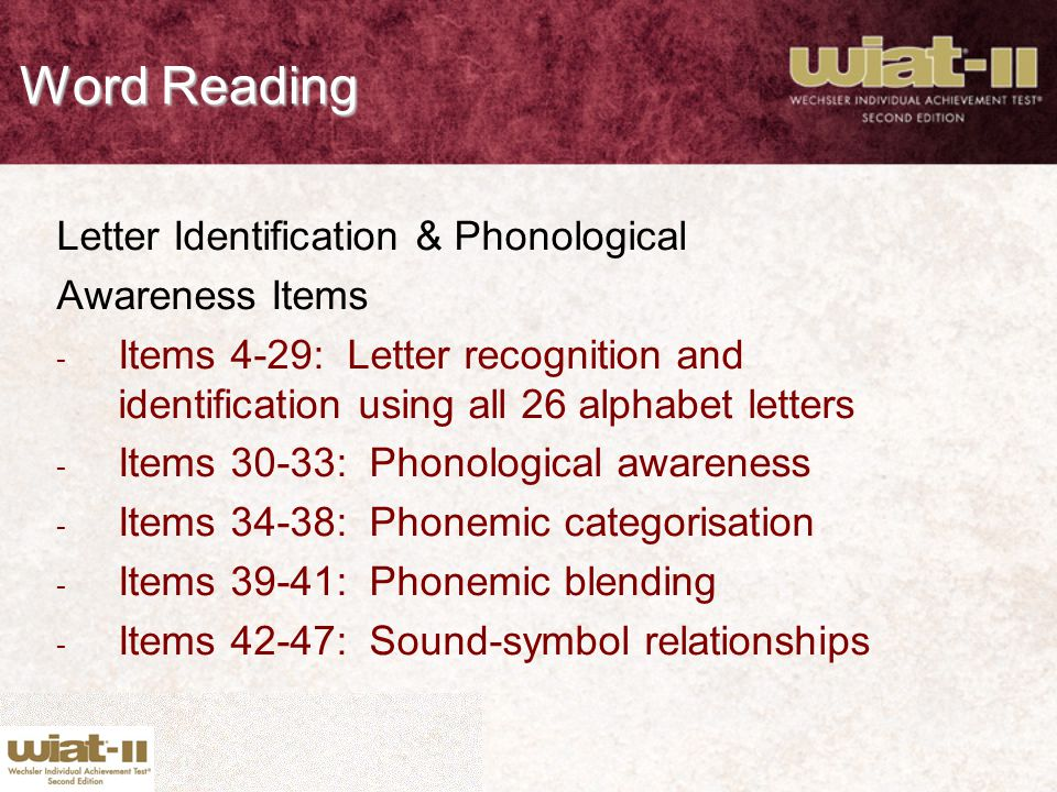 Word Reading Letter Identification & Phonological Awareness Items