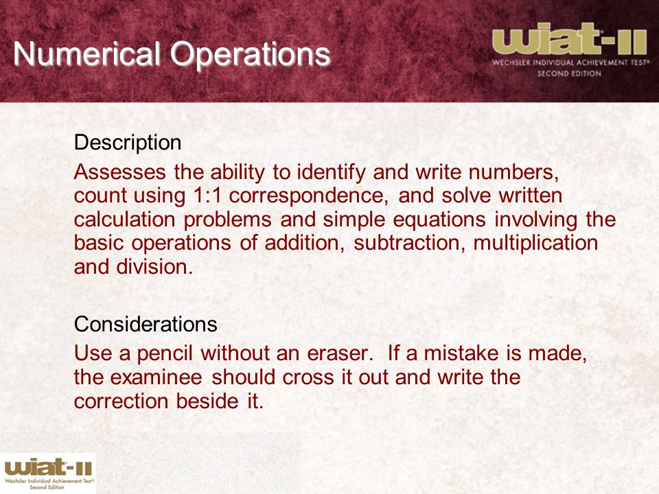 Numerical Operations Description