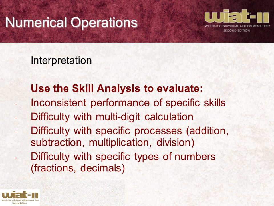 Numerical Operations Interpretation
