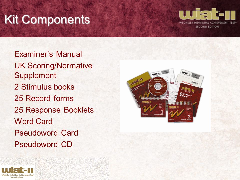 Kit Components Examiner's Manual UK Scoring/Normative Supplement