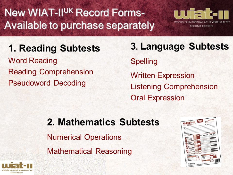 New WIAT-IIUK Record Forms- Available to purchase separately