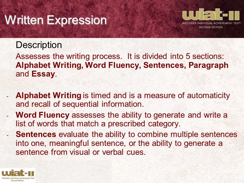 Written Expression Description
