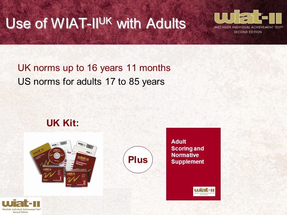 Use of WIAT-IIUK with Adults
