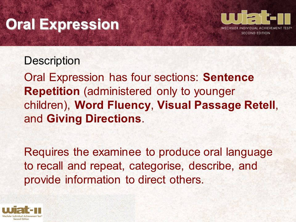Oral Expression Description
