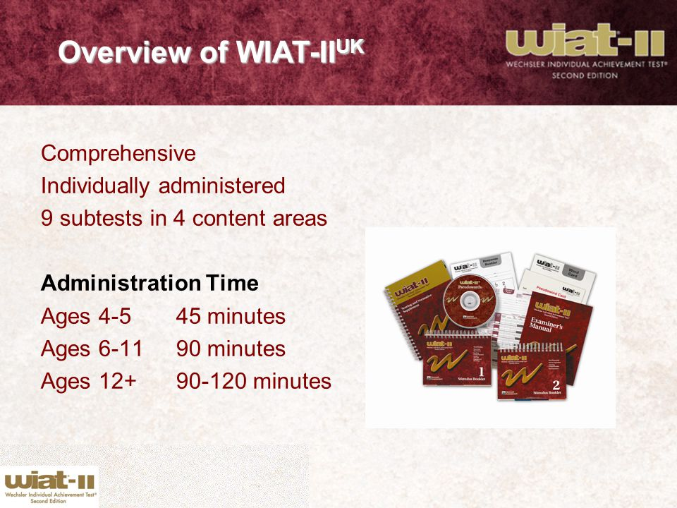 Overview of WIAT-IIUK Comprehensive Individually administered