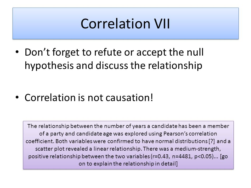 Correlation VII Don't forget to refute or accept the null hypothesis and discuss the relationship. Correlation is not causation!