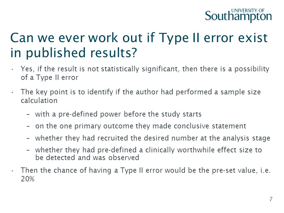 Can we ever work out if Type II error exist in published results