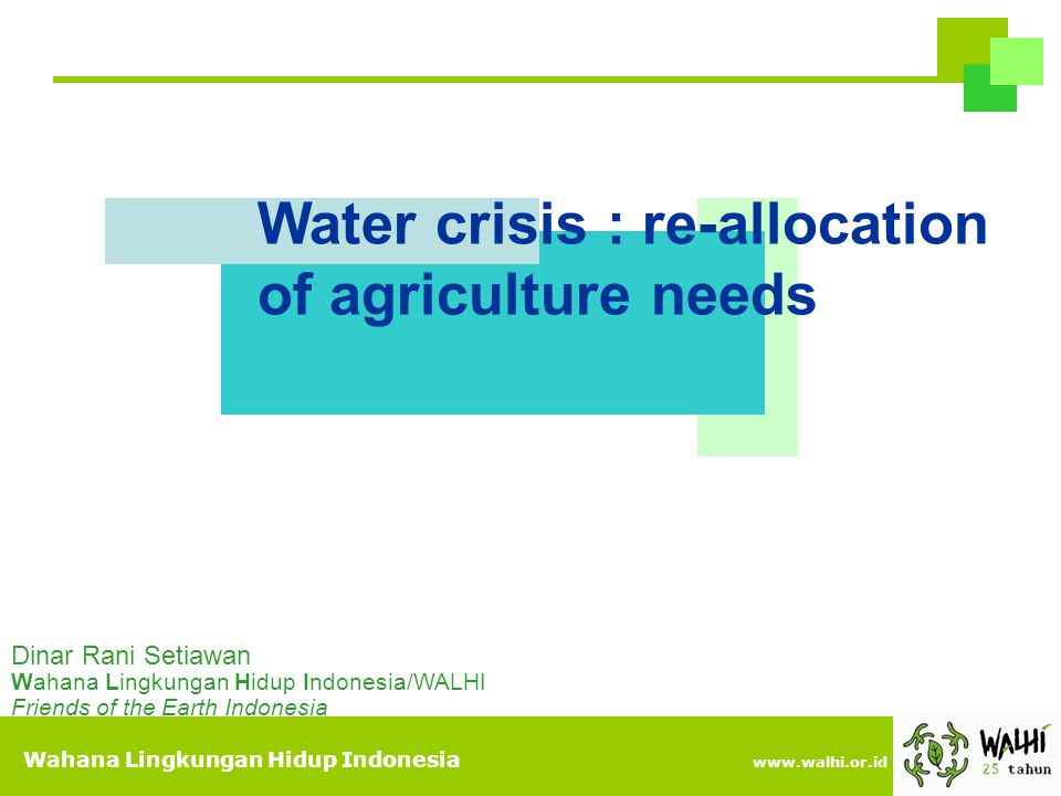 Water crisis : re-allocation of agriculture needs