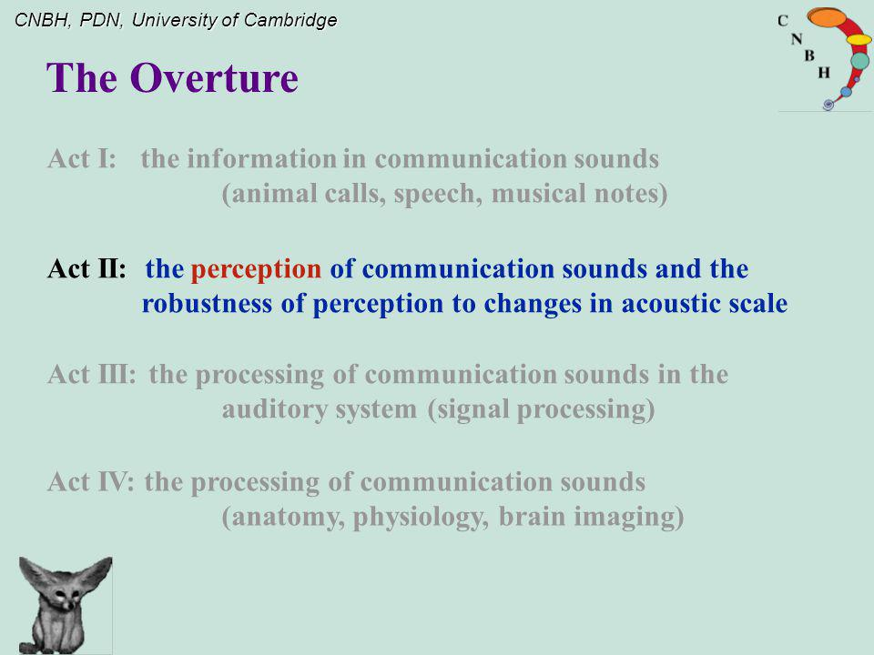 The Overture Act I: the information in communication sounds (animal calls, speech, musical notes)