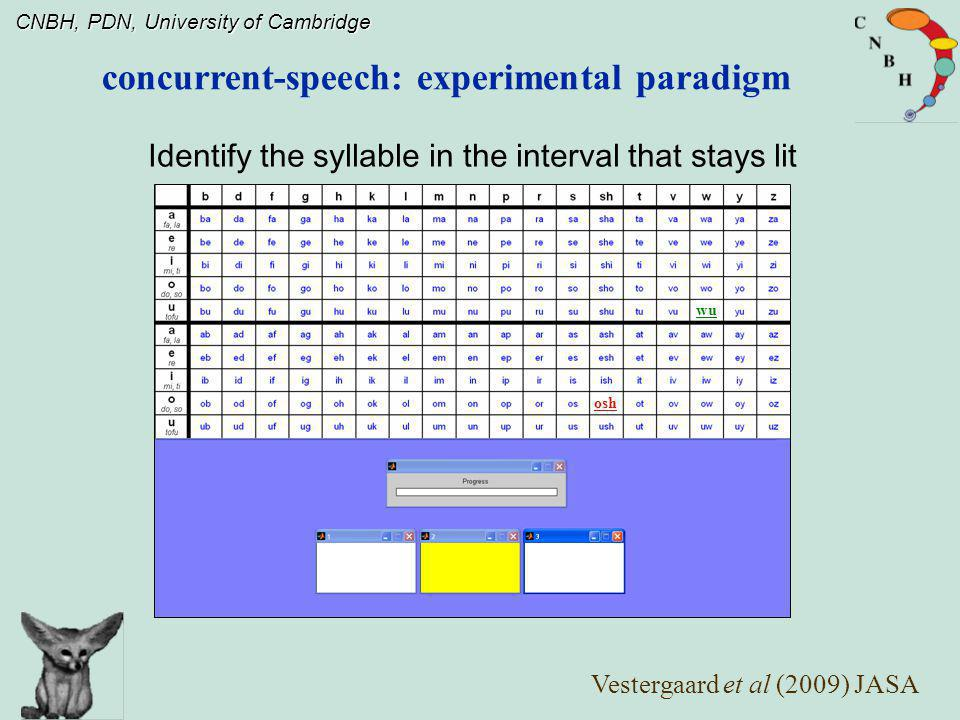 concurrent-speech: experimental paradigm