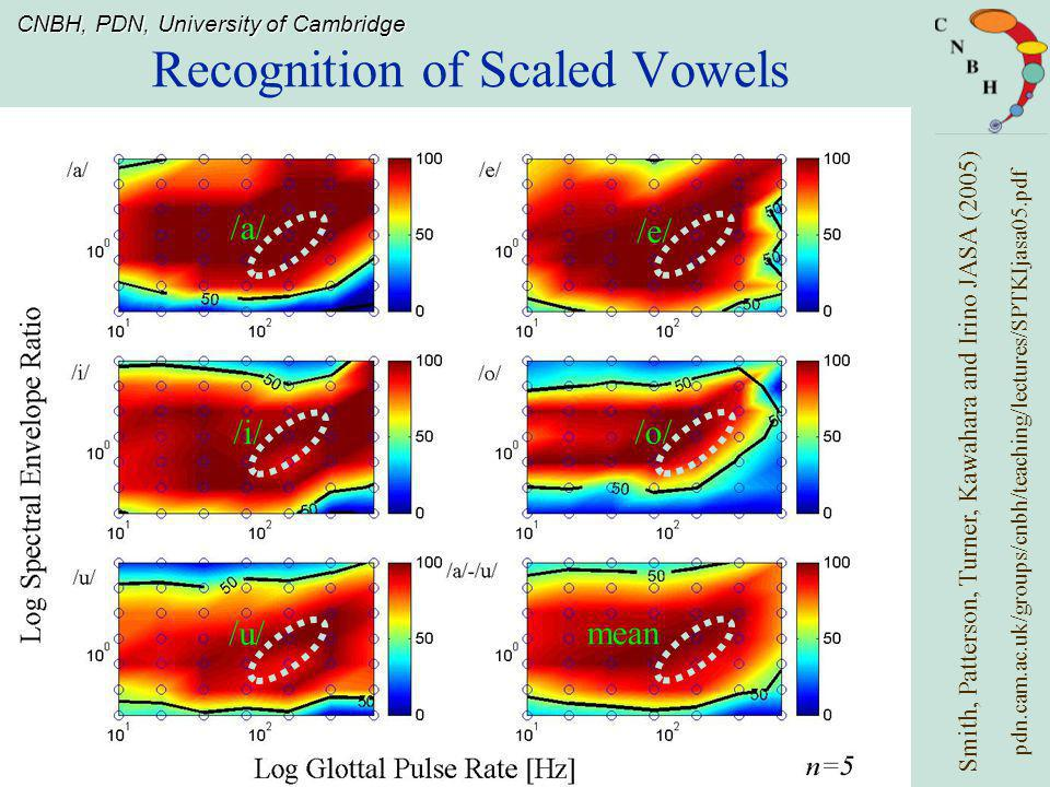 Recognition of Scaled Vowels