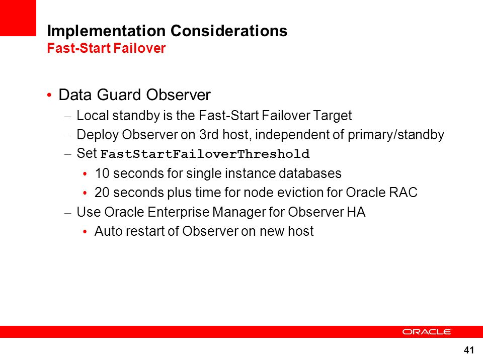 Implementation Considerations Fast-Start Failover