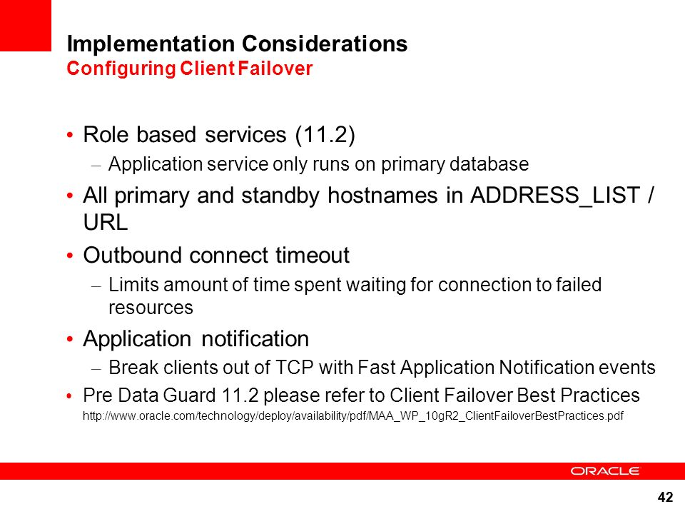 Implementation Considerations Configuring Client Failover