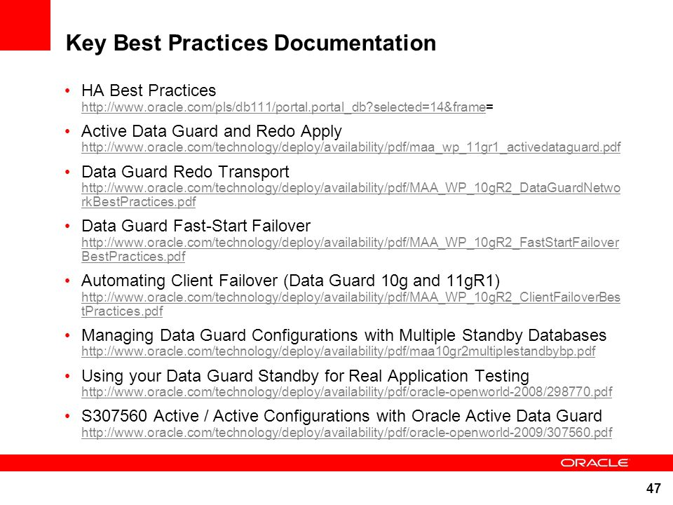 Key Best Practices Documentation