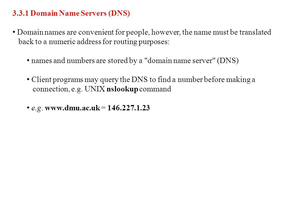 3.3.1 Domain Name Servers (DNS)