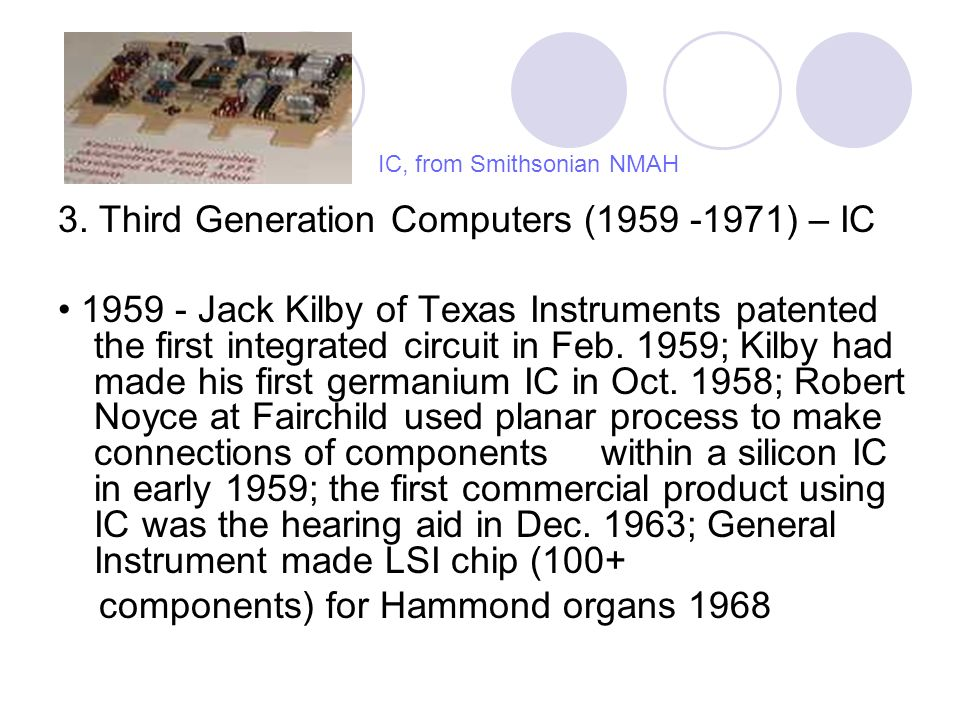 3. Third Generation Computers (1959 -1971) – IC