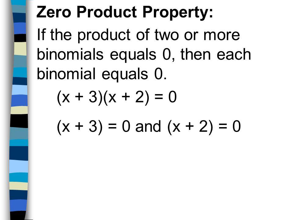 Zero Product Property: