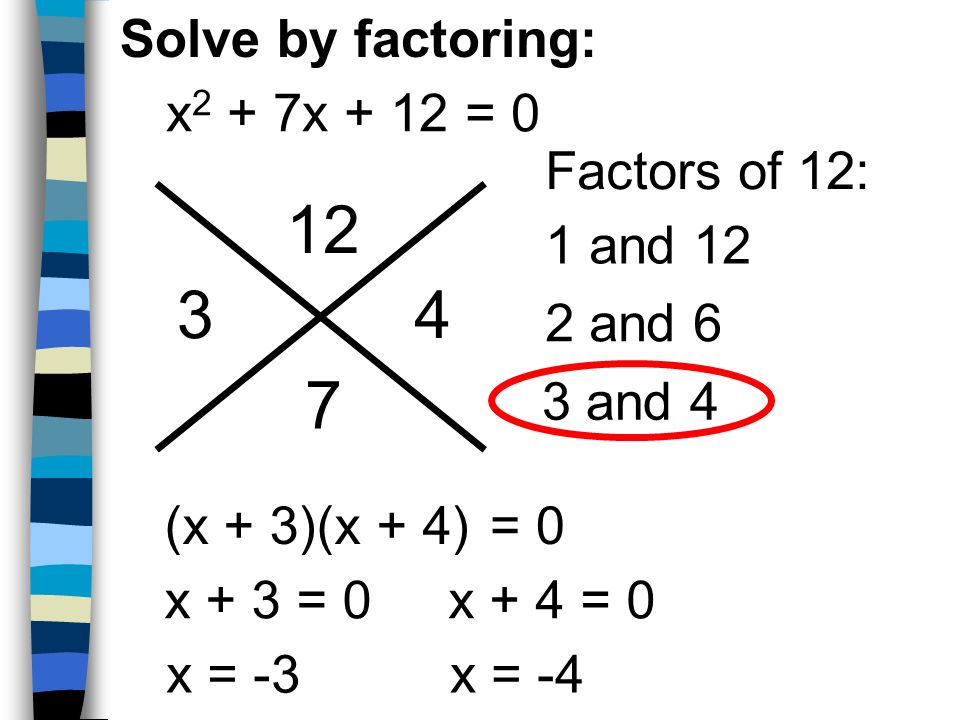 12 3 4 7 Solve by factoring: x2 + 7x + 12 = 0 Factors of 12: 1 and 12