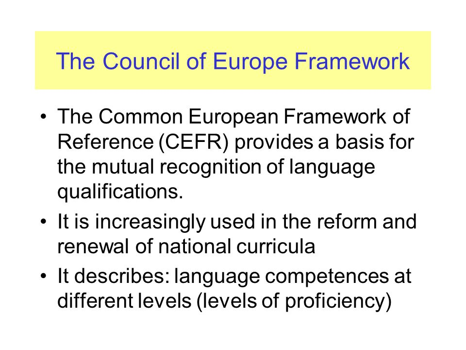 The Council of Europe Framework