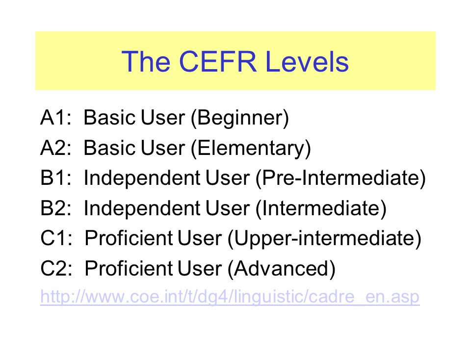 The CEFR Levels A1: Basic User (Beginner) A2: Basic User (Elementary)