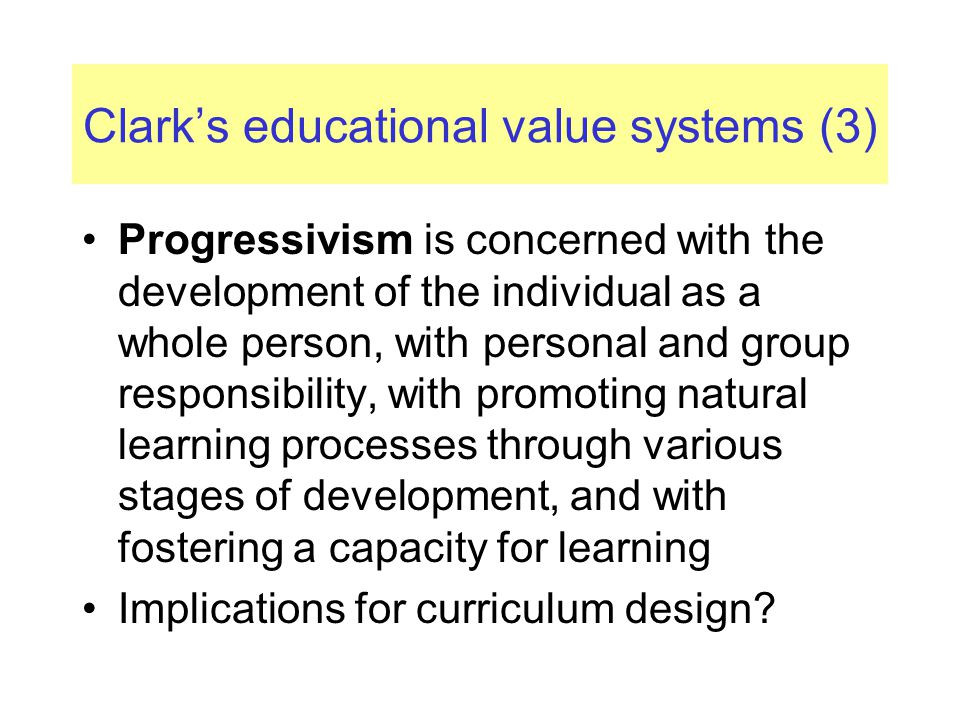 Clark's educational value systems (3)