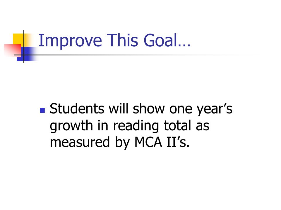 Improve This Goal… Students will show one year's growth in reading total as measured by MCA II's.