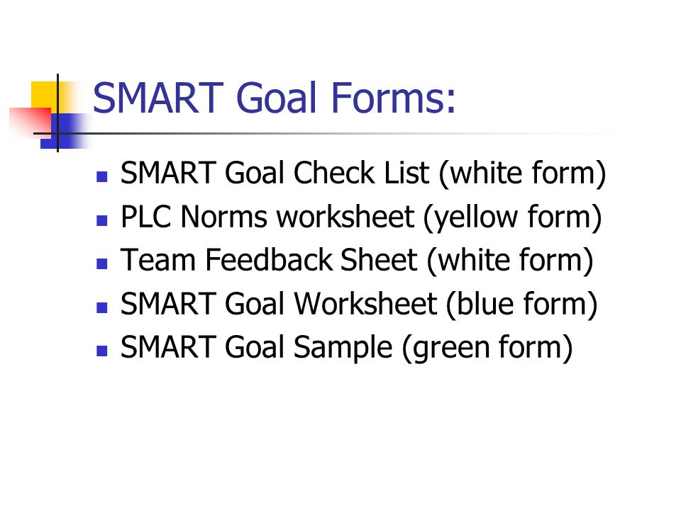 SMART Goal Forms: SMART Goal Check List (white form)