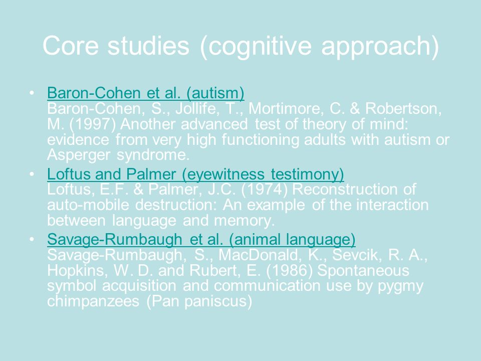 Core studies (cognitive approach)