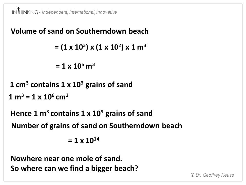 Volume of sand on Southerndown beach = (1 x 103) x (1 x 102) x 1 m3