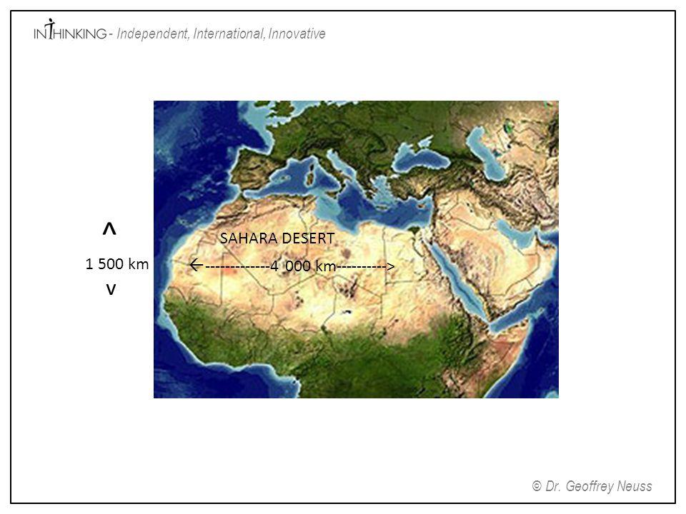 ^ 1 500 km v SAHARA DESERT -------------4 000 km---------->
