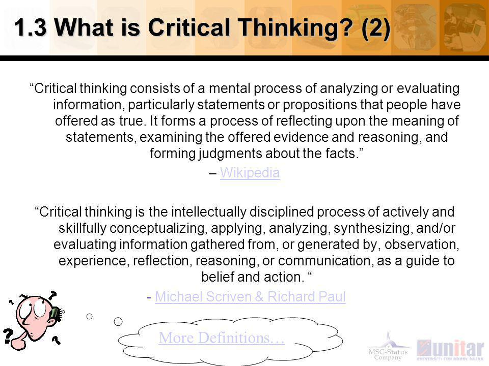 Critical Thinking and the Liberal Arts