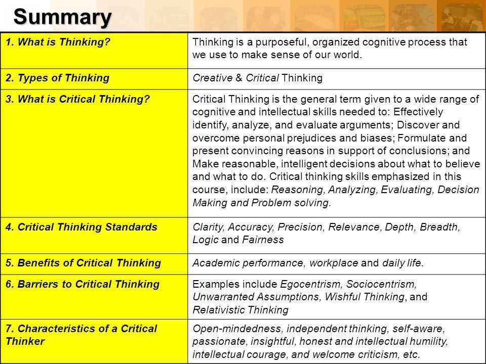 barriers of critical thinking essay Thinking outside the box requires a relaxed state of mind managing day-to-day operations is important, but it shouldn't prevent new ideas and a fresh approach don't think of new displays or ideas when in the middle of managing accounts but before you go to sleep is perfect guide your thinking let your mind drift off that space between being awake.
