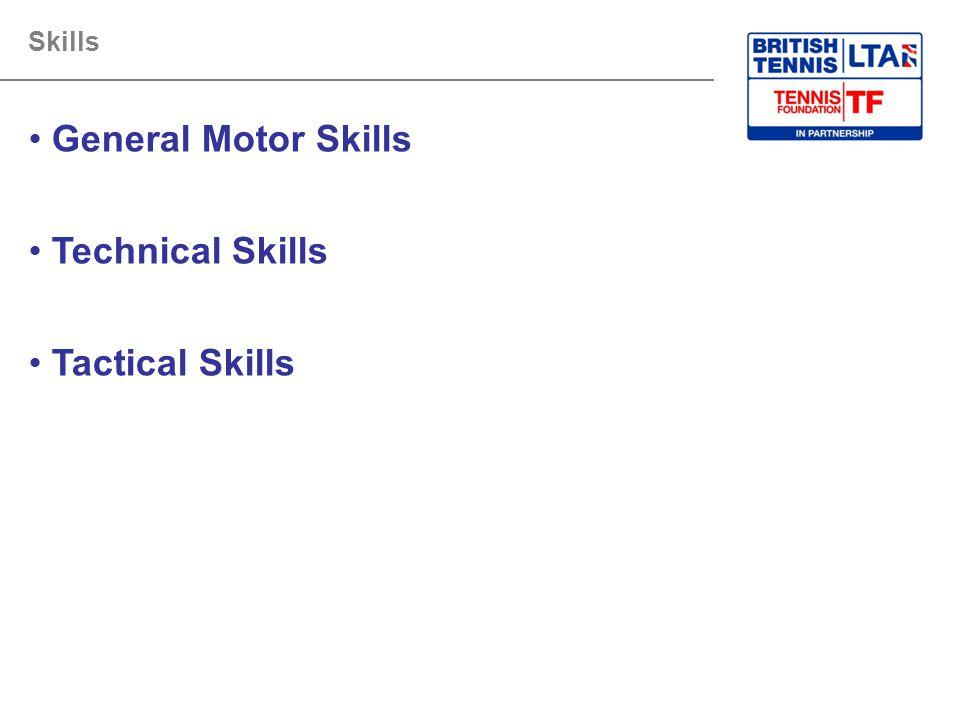 General Motor Skills Technical Skills Tactical Skills Skills