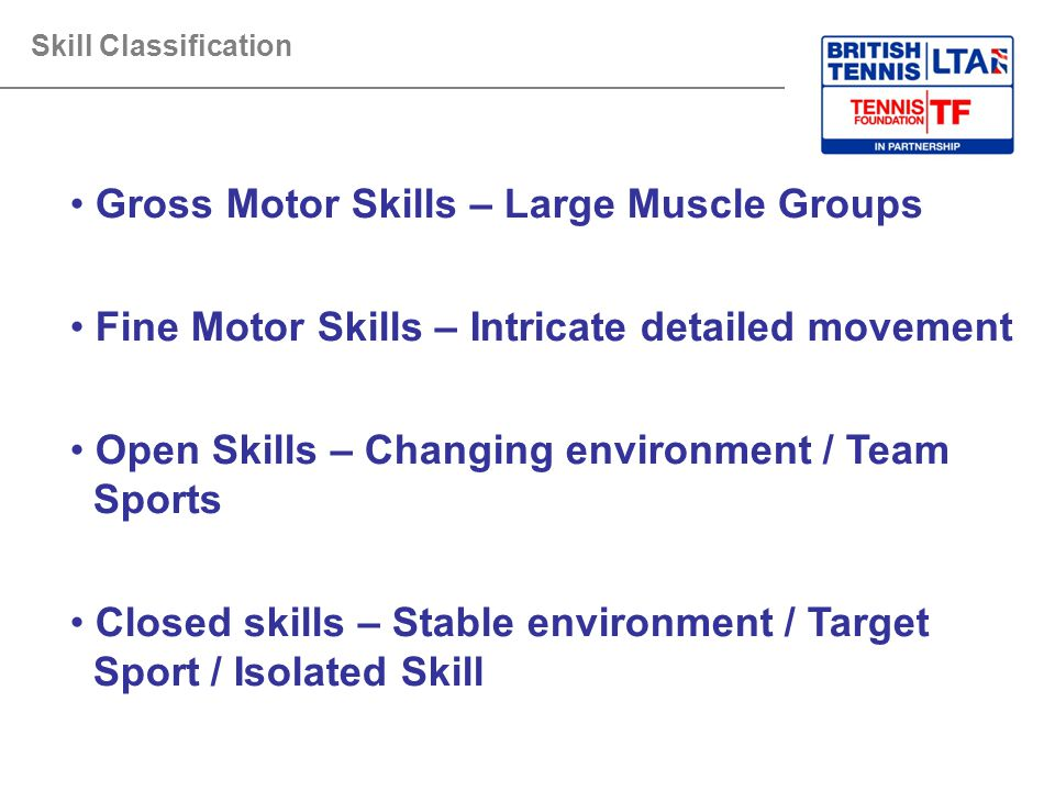 Gross Motor Skills – Large Muscle Groups