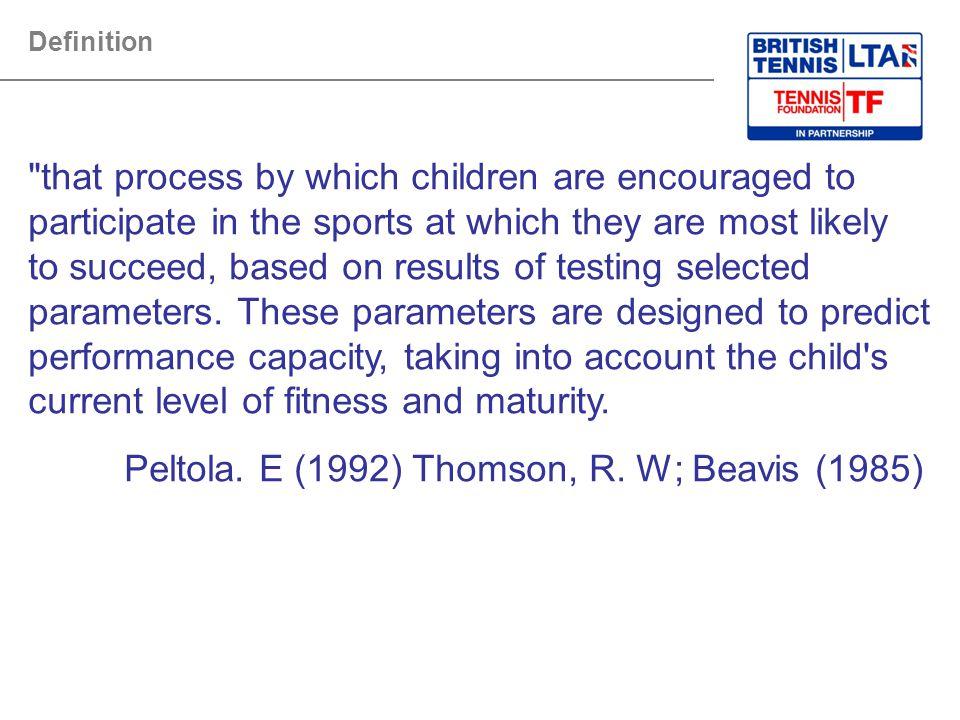Peltola. E (1992) Thomson, R. W; Beavis (1985)
