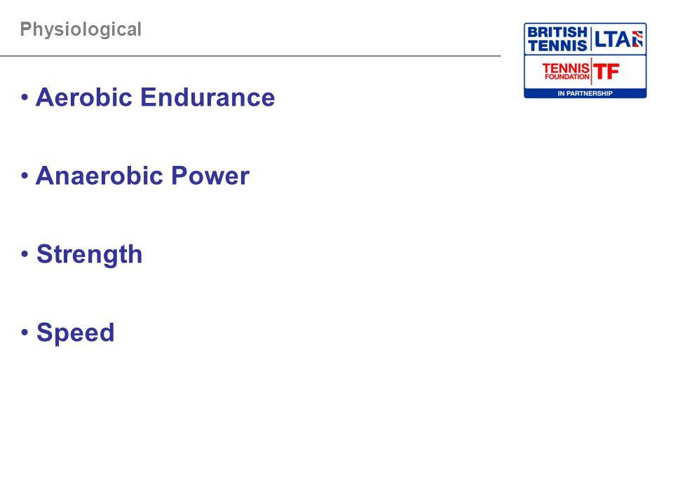 Aerobic Endurance Anaerobic Power Strength Speed Physiological