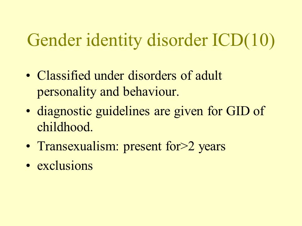Gender identity disorder ICD(10)