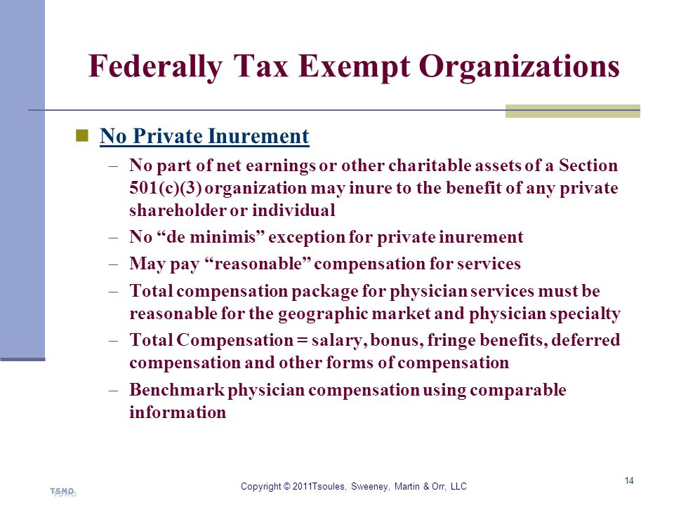 Federally Tax Exempt Organizations