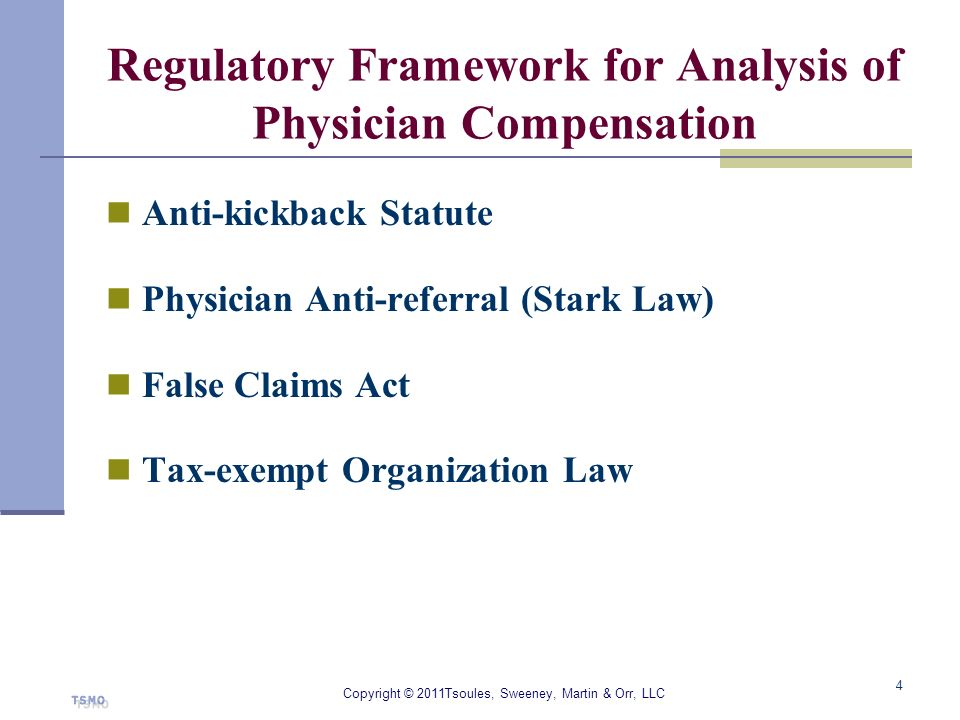 Regulatory Framework for Analysis of Physician Compensation