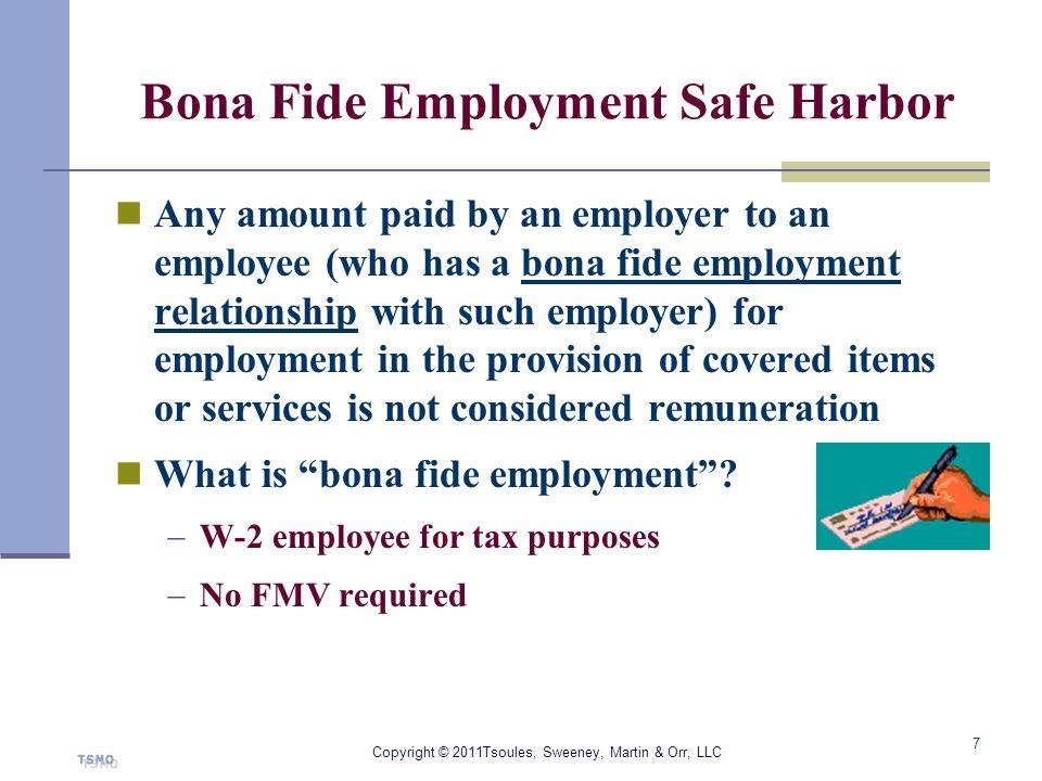 Bona Fide Employment Safe Harbor
